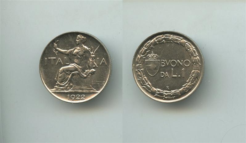 e54df2dd18 Buono da 1 Lira 1922 [100216] - €60.00 : Numismatica Ivlia