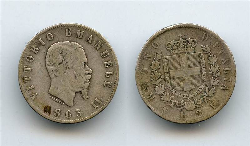 b97f66c35e VITTORIO EMANUELE II (1861-1878) 2 Lire 1863 Stemma, Napoli [5083 ...