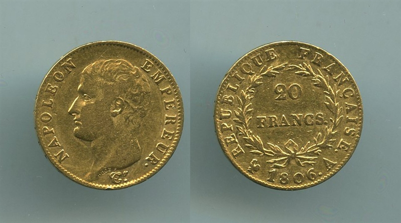 48516dbe5f FRANCIA, Napoleone (1804-1814) 20 Francs 1806 A